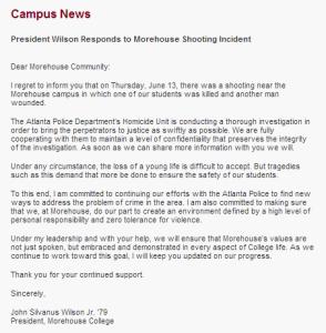 Morehouse College response